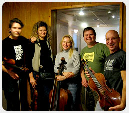 The String Quartet ETHEL pictured with composer Mike Croswell in the studio.